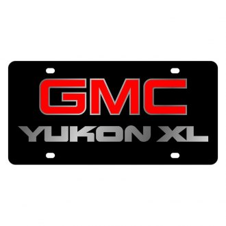 Eurosport Daytona® - GM Black License Plate with Silver GMC Yukon Xl Logo