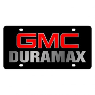 Eurosport Daytona® - GM Black License Plate with Silver GMC Duramax Logo