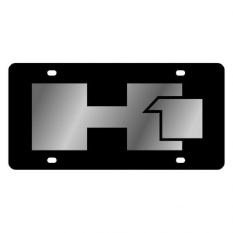 Eurosport Daytona® - GM Black License Plate with Silver Hummer H1 Logo