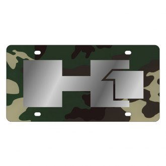 Eurosport Daytona® - GM Green Camouflage License Plate with Silver Hummer H1 Logo