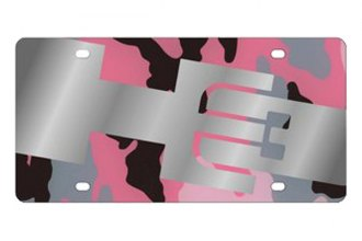 Eurosport Daytona® 2625STMP-1PC - GM Pink Camouflage License Plate with Silver Hummer H3 Logo