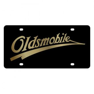 Eurosport Daytona® - GM Lazertag Black License Plate with Gold Oldsmobile Retro Logo
