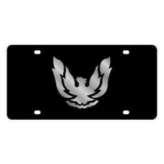 Eurosport Daytona® - GM Black License Plate with Silver Firebird Retro Logo