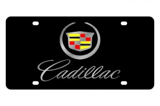 Eurosport Daytona® - GM Black License Plate with Silver Cadillac Script Logo
