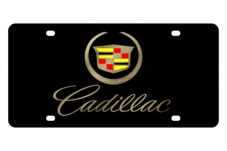 Eurosport Daytona® - GM Black License Plate with Gold Cadillac Script Logo