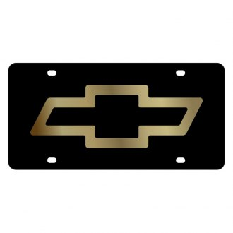 Eurosport Daytona® - GM Black License Plate with Gold Chevrolet Bowtie Logo