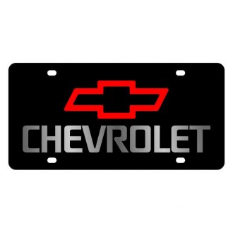 Eurosport Daytona® - GM Black License Plate with Silver Chevrolet Logo