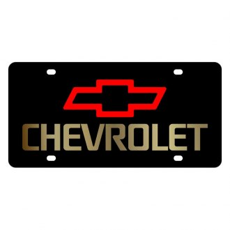 Eurosport Daytona® - GM Black License Plate with Gold Chevrolet Logo