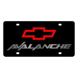Eurosport Daytona® - GM Black License Plate with Silver Avalanche Logo