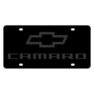Eurosport Daytona® - GM Carbon Black License Plate with Camaro Logo