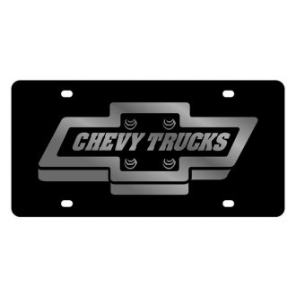 Eurosport Daytona® - GM Black License Plate with Silver Chevrolet Trucks Logo