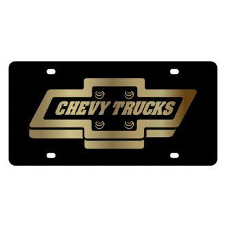 Eurosport Daytona® - GM Black License Plate with Gold Chevrolet Trucks Logo