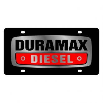 Eurosport Daytona® - GM Black License Plate with Silver Duramax Diesel Logo