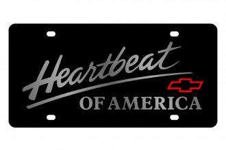 Eurosport Daytona® - GM Black License Plate with Silver Heartbeat Logo