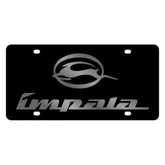 Eurosport Daytona® - GM Black License Plate with Silver Impala Logo