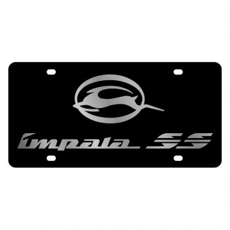 Eurosport Daytona® - GM Black License Plate with Silver Impala SS Logo