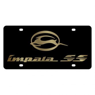 Eurosport Daytona® - GM Black License Plate with Gold Impala SS Logo