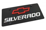 Eurosport Daytona® - Silver Silverado Logo on Black Steel License Plate