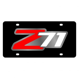 Eurosport Daytona® - GM Black License Plate with Style 1 Red / White / Silver Z71 Logo