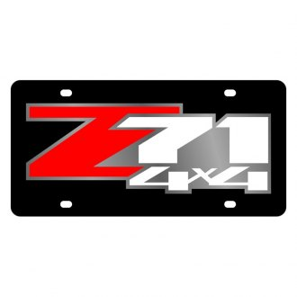 Eurosport Daytona® - GM Black License Plate with Silver Z-71 4x4 Logo