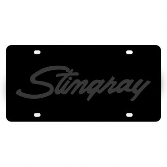 Eurosport Daytona® - GM Carbon Black License Plate with Silver Stingray Script Logo