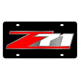 Eurosport Daytona® - GM Black License Plate with Style 4 Red / White / Silver Z71 Logo