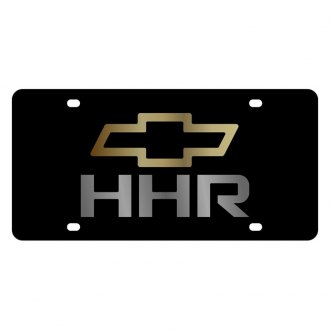 Eurosport Daytona® - GM Black License Plate with Gold / Chrome HHR Logo and Chevrolet Emblem