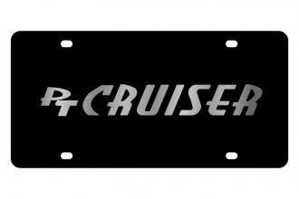 Eurosport Daytona® - Silver PT Cruiser Logo on Black Steel License Plate