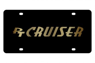 Eurosport Daytona® - Gold PT Cruiser Logo on Black Steel License Plate