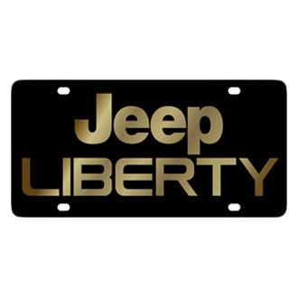 Eurosport Daytona® - MOPAR Black License Plate with Gold Jeep Liberty Logo