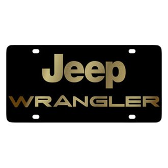 Eurosport Daytona® - MOPAR Black License Plate with Gold Wrangler Logo