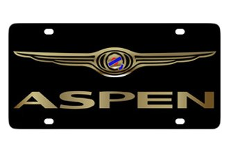 Eurosport Daytona® 3425-2 - MOPAR Black License Plate with Gold Aspen Logo