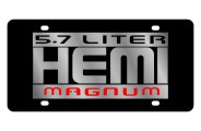 Eurosport Daytona® - Silver 5.7 Liter Hemi Magnum Logo on Black Steel License Plate