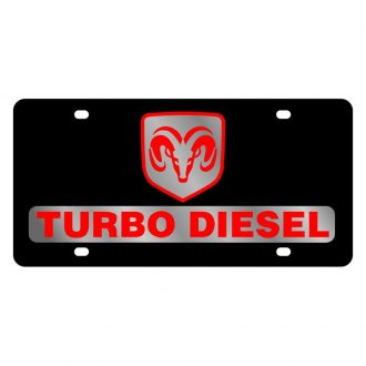 Eurosport Daytona® - MOPAR Black License Plate with Silver Ram Turbo Diesel Logo