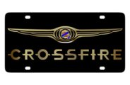 Eurosport Daytona® - Gold Crossfire Logo on Black Steel License Plate