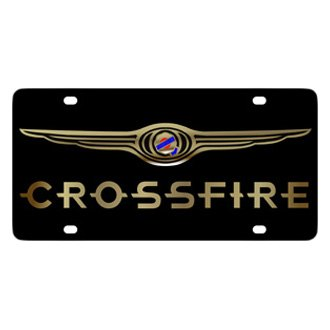 Eurosport Daytona® - MOPAR Black License Plate with Gold Crossfire Logo