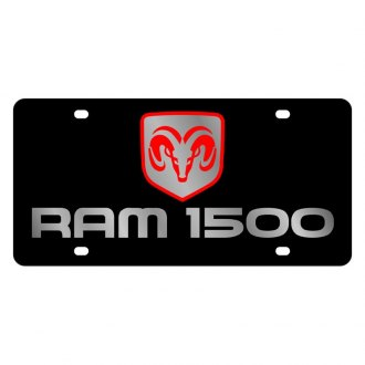 Eurosport Daytona® - MOPAR Black License Plate with Silver Ram 1500 Logo