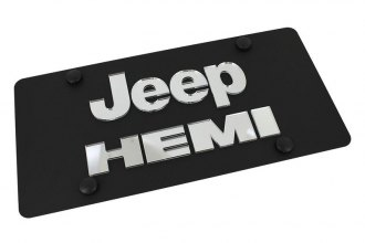 Eurosport Daytona® - MOPAR Black License Plate with Silver Jeep HEMI Logo