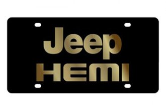 Eurosport Daytona® - MOPAR Black License Plate with Gold Jeep HEMI Logo