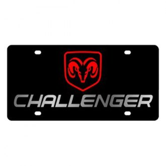 Eurosport Daytona® - MOPAR Black License Plate with Silver Challenger Logo