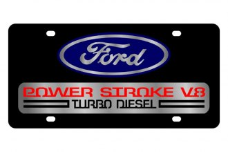 Eurosport Daytona® - Ford Motor Company Black License Plate with Silver Power Stroke V8 Logo