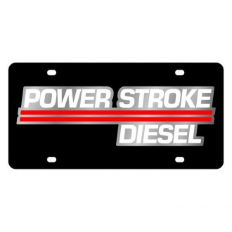 Eurosport Daytona® - Ford Motor Company Black License Plate with Silver Power Stroke Diesel Logo