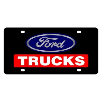 Eurosport Daytona® - Ford Motor Company Black License Plate with White / Red Trucks Logo and Ford Emblem