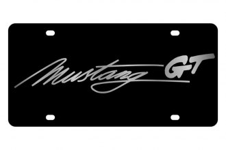 Eurosport Daytona® - Ford Motor Company Black License Plate with Silver Mustang GT Script Logo
