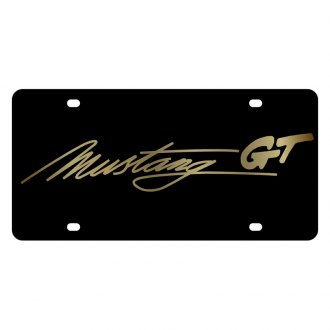 Eurosport Daytona® - Ford Motor Company Black License Plate with Gold Mustang GT Script Logo