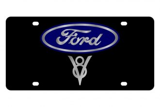 Eurosport Daytona® - Ford Motor Company Black License Plate with Silver V8 Logo