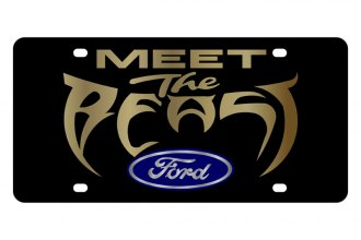 Eurosport Daytona® - Ford Motor Company Black License Plate with Gold Meet the Beast Logo