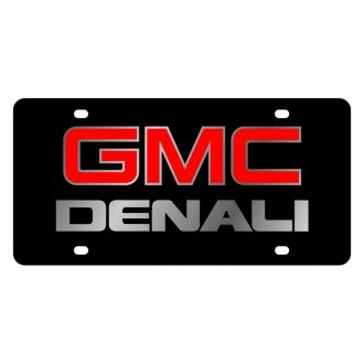 Eurosport Daytona® - GM Black License Plate with Silver GMC Denali Logo