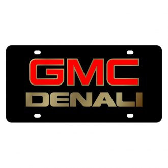 Eurosport Daytona® - GM Black License Plate with Gold GMC Denali Logo
