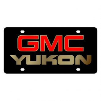 Eurosport Daytona® - GM Black License Plate with Gold GMC Yukon Logo